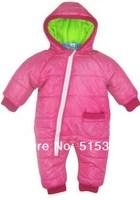 новорожденный ребенок зима хлопка-ватник один кусок пальто дети шляпа комбинезон - часть пуховик лыжный костюм