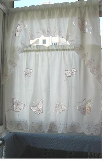 3PCS Butterfly Embroided Beige Cream KITCHEN CURTAIN TIER U0026 SWAG SET