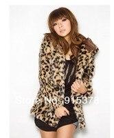 Hits распродажа осень зима женская мода Leopard обвинение мех капот верхняя одежда пальто + Blur одежда + бесплатная доставка 5008