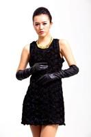 бесплатная доставка 2015 женщин accusation кожи с glovesfashion женские кожаные перчатки женщин 50 см бесплатная доставка