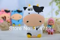самый новый милый 3D и мультфильм животных коровьего молока мягкий силиконовой резины чехол для iPhone 5 С 5 г 5-й, бесплатная доставка
