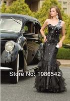 бесплатная новый черный бисероплетение платье для выпускного бала влагалище платье труба / русалка знаменитости платья