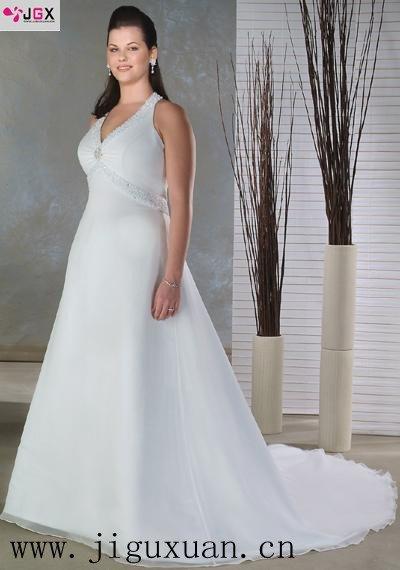 0300 1hs Sexy A Line Appliques Puls Size White Wedding Dress XXL ...