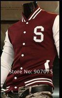 """бесплатная доставка новый красный с белым мужская бейсбол куртка / мужская """" ы """" университет письмо колледжа Talk куртка размер : М-XXL"""