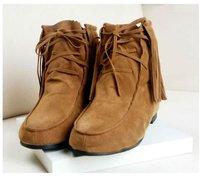 бесплатная доставка новое поступление qinan мода женщин кисточкой зима теплая квартира снегоступы каблук