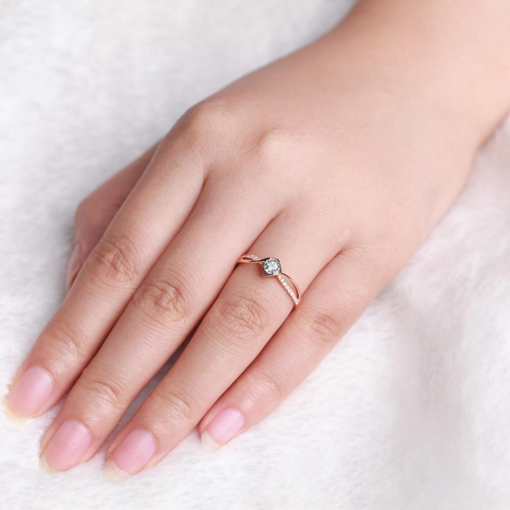 GVBORI Love 0.18Carat 18K Rose Gold Diamond Ring Romantic Gift ...