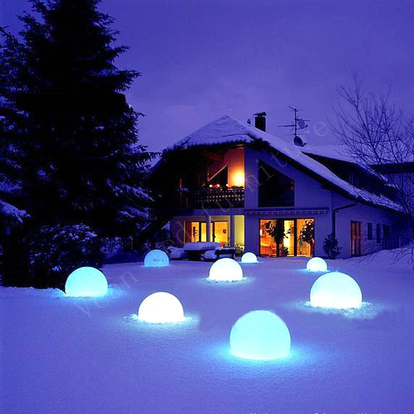 snow waterproof 16 colors change remote control plastic outdoor light lamp sphere led ball