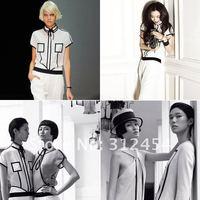 бесплатная доставка новое постулат высокая мода ss12240 белый / черный с цветными блоками женская combines / ползунки знаменитости Vintage сочетает