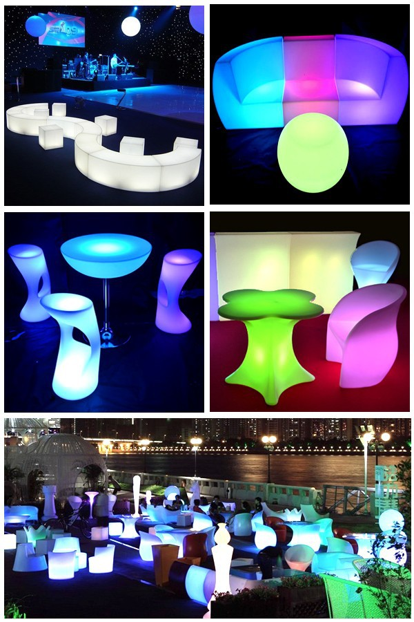 plastic led light sofa
