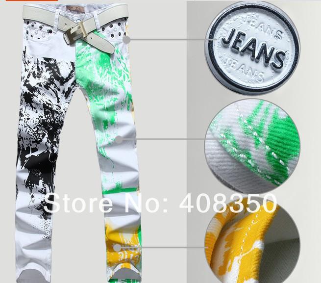 мужчины в улыбки фреш зеленый желтый бренд дизайнер свободного покроя узкие прямой джинсы брюки, весна ночной клуб джинсы