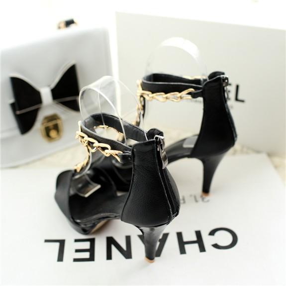 хиты новые поступления из натуральной кожи женщина цепочка т ремень сандалии женские туфли гладиатор туфли на каблуках дамы обуви прямая поставка