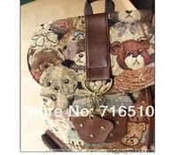 бесплатная доставка продажи милая девушка плюшевый мишка холст сумка-рюкзак