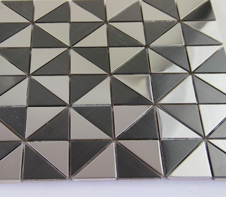 Hot black white triangle metal mosaic wall tile metallic mosaics ...