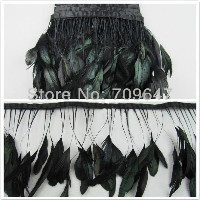 Coque feather fringe turquoise irridescent color 2 yards trim