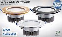 DHL и бесплатная доставка 3 вт из светодиодов потолочный светильник ac86 ~ 265 в, 250 ~ 290lm, серебро / черный / золото оболочки, и CE и RoHS, 3 вт из светодиодов прожектор