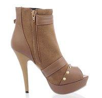 бесплатная доставка сексуальное поясом на высоком каблуке платформа пип-носок в обуви бежевый