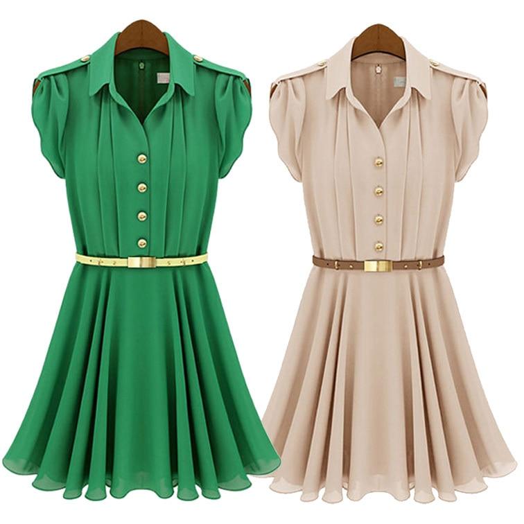 09ad51b887d Fashion Style Womens Fashion Pleated Chiffon Green Button Shirt Dress Free  Belt Free shipping