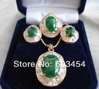 изумрудный нефрит зеленый циркон ожерелье серьги кольцо ювелирных изделий / бесплатная доставка