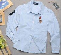 для мальчиков голубой отложным воротником рубашки бесплатная доставка