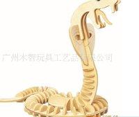 бесплатная доставка - змея деревянные имитационная модель / трехмерная головоломка поделки ассамблеи развивающие игрушки
