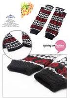 высокое качество длинной шерсти вязание крючком подогреватели руку перчатки без пальцев темный цветок подогреватели руку для холодный день