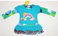 бесплатная доставка! 6 размер / много 1-6 лет девочка платье бисером и цветок печатных девушки в ребенка с длинным рукавом платье