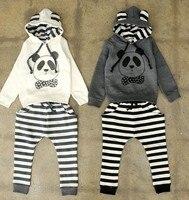 бесплатная доставка 5 компл./лот новое поступление мальчик и девочка с длинным рукавом - + брюки панда с полосатой для 2 - 6 лет дети мальчиков и девочек