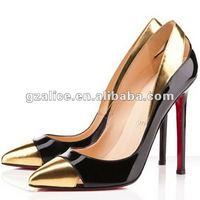 cl241 горячая распродажа лакированной кожи с острым на высоком каблуке платье туфли черный / золото