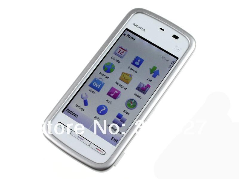 "Refurbished smartphone Nokia 5230 GPS 3G 3.2"" Bluetooth JAVA 2MP Unlocked Mobile Phone white 1"