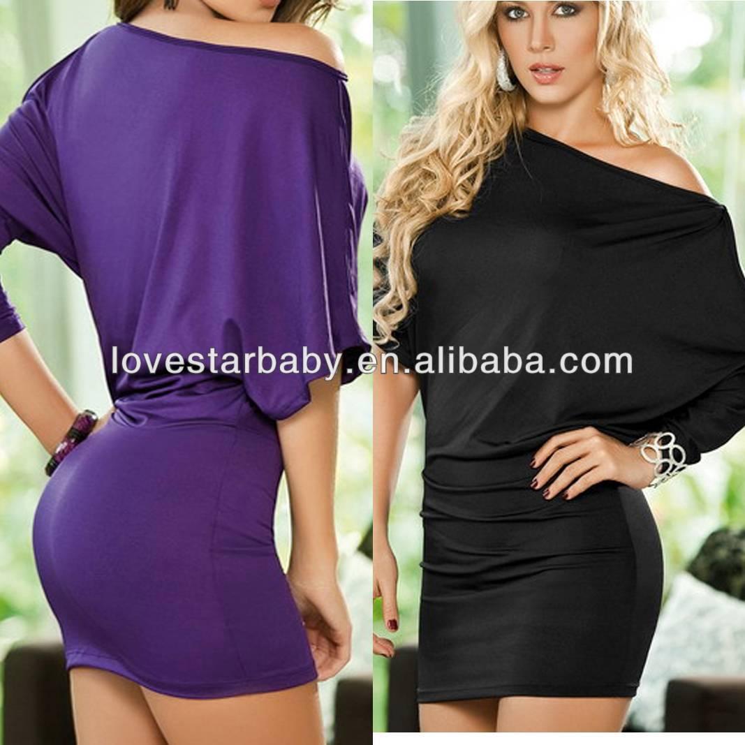 Vestido mini, mujeres del batwing cómodo atractivo de un hombro club ...