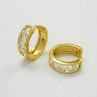 оптовая продажа леди циркон 18 к желтое золото заполнено обруч серьги 16 мм кожа женщин мужская ГФ женские украшения