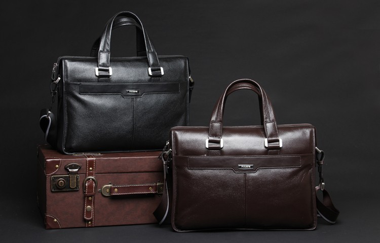Free shipping P . kuone man commercial male handbag genuine leather shoulder men\'s asual bag leather briefcase07