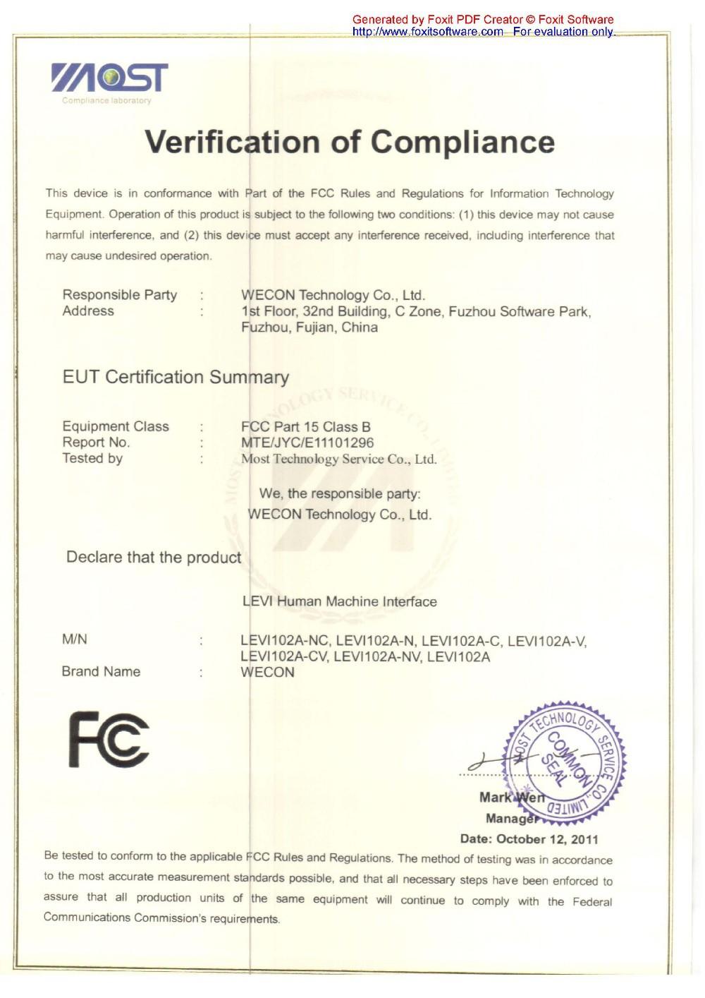 Levi102A(+extension) FCC