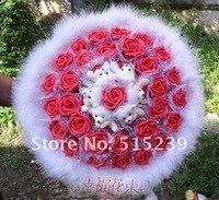 11 красные розы + тактика медведь мультфильм букет wade подарок на день рождения подарок + бесплатная доставка d937