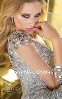 роскошные сексуальные блестящий оболочка милая с длинным рукавом лодыжки - кристалл блестки горный хрусталь выпускного вечера ну вечеринку платья горячие