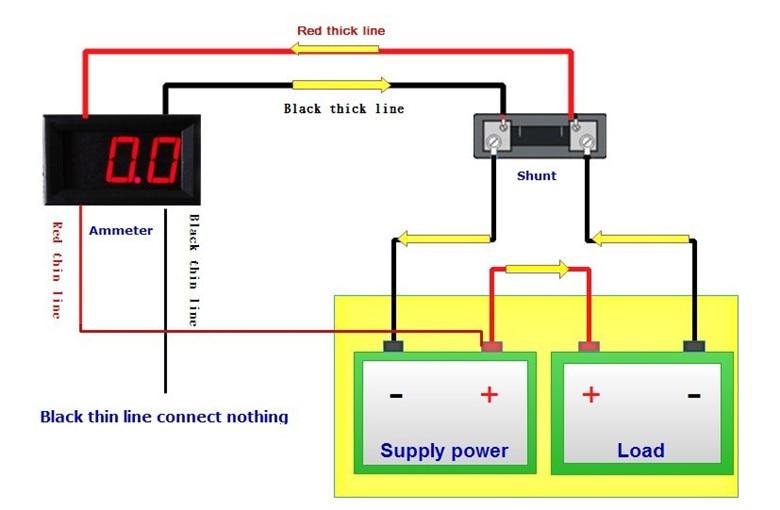 RD led Display Color 056 Digital Ammeter DC 0 50A amp 4 wires 3