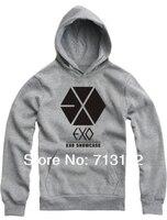 корейский музыка лента экзо чёрно-белый и серый логотип принт контейнер верхний толстовка свитер вентилятор - МД пиджаки outcoat