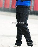 новинка тенденция человека черный длинные брюки свободного покроя брюки отдыха людей брюк прямая поставка