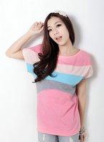 бесплатная доставка / женщин футболки / / свободный размер / розовый цвета / хлопок / с коротким рукавом / вывода * шеи