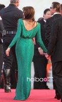 знаменитости платья оскар звезда анджелина джоли зеленый короткий рукав прямой заколка с хрустальным цветком искусственный шелк шифон