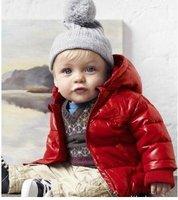 скидка для 1 ~ 3 лет дети красная куртка мальчиков парка пальто одежды, ультра-теплый хлопок-ватник бесплатная доставка