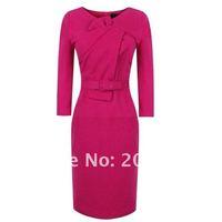 новое колено пр ездить платье, пышными рукавами деловое платье хлопок платья, синий, розовый с поясом ir078