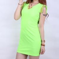 женщины без рукавов с V-образным вырезом флуоресцентные цвета заклепки мода тонкий зеленый платье ежедневно платье