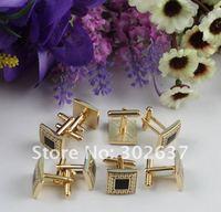 1 комплект черной эмалью золото-пластина запонки площадь # 22251
