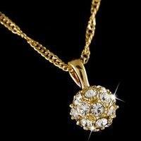 Италина 18 к желтый позолоченные хрустальный шар в ожерелье ljn001