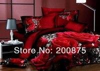 100% хлопок бесплатная доставка - оптовая продажа - белый цветок и красный цветок картина маслом постельных принадлежностей / постельное белье / 4 шт. простыня