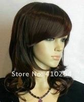 jewelry_wig $ отличная средний D Теа черный коричневый вьющийся женщины парк с сеточки w781