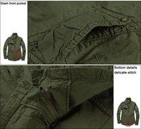 праздничная распродажа 100% хлопок мужская армия зеленый куртки в стиле милитари пальто 1029