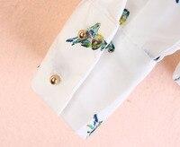 finalfit бисером воротник птица печати женская блузка