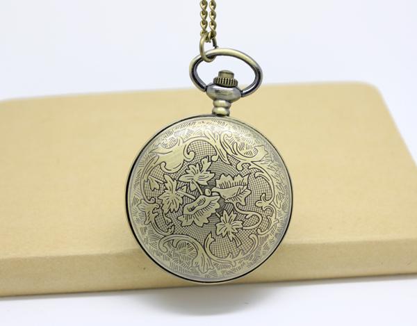 викторианский стиль эмаль цветочным узором охотник карманные часы-кварц, диаметр 4.7 см